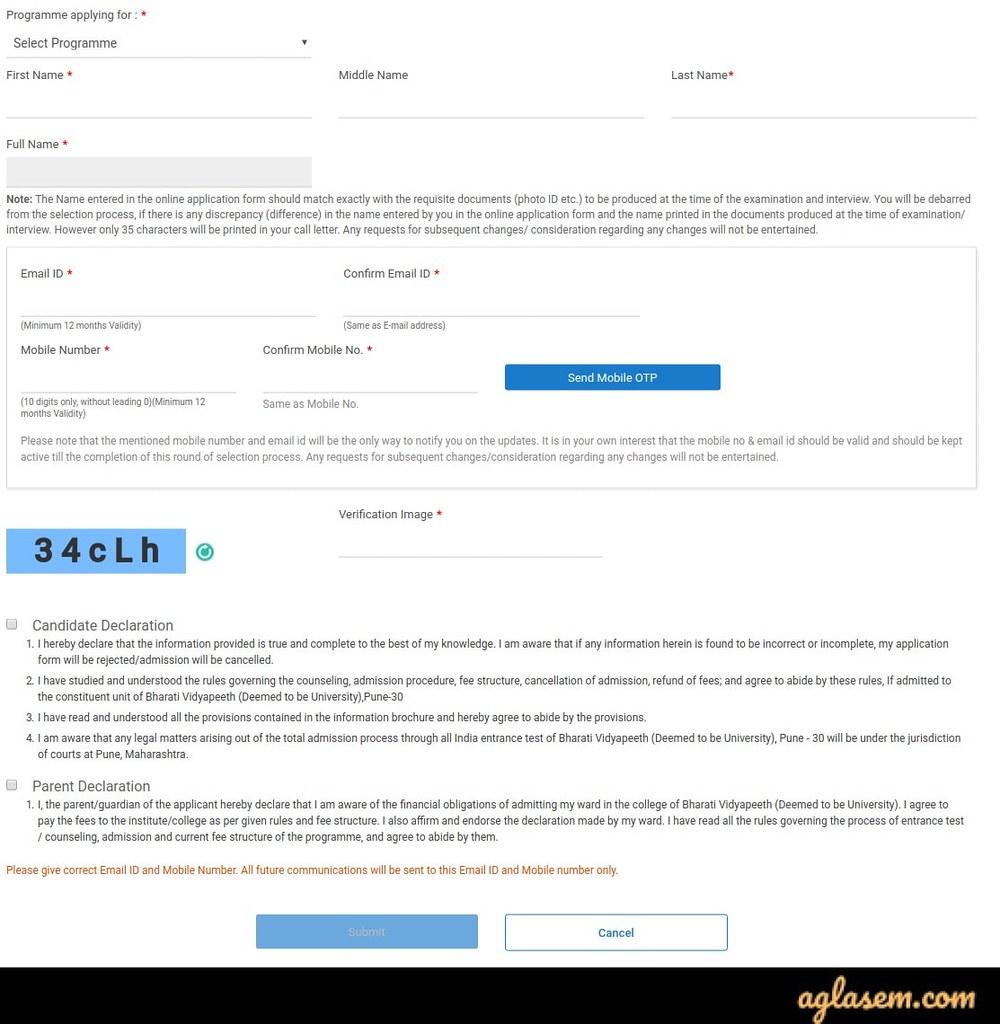 बीवीपी सीईटी आवेदन पत्र 2020