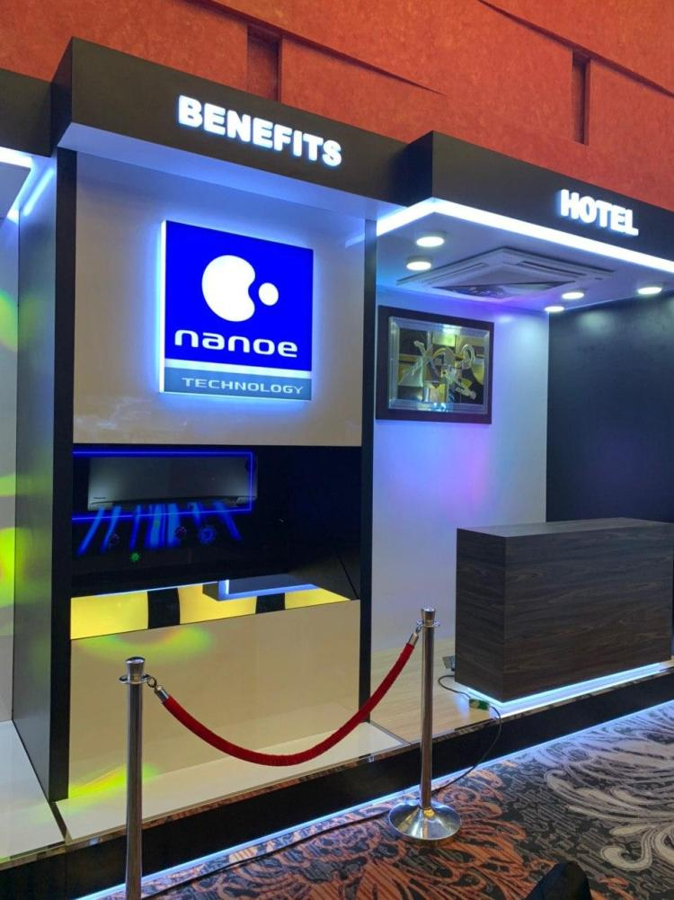 Hologram displaying benefits of Panasonic NanoeTM Technology