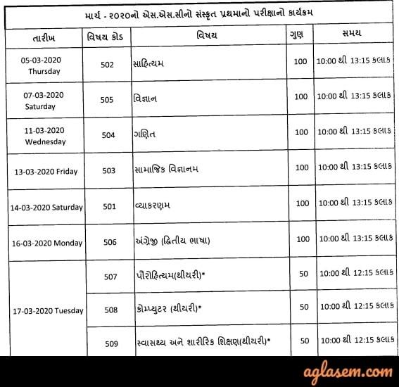 GSEB Sanskrit Prathma & Madhyama Time Table March 2020