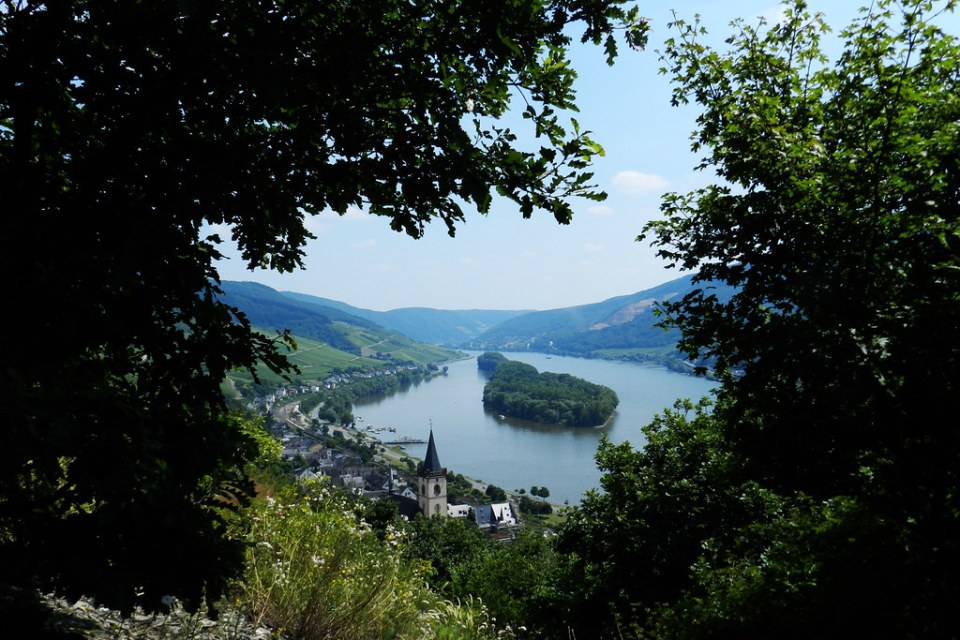 vista de Lorch y isla de Lorcher Werth Valle del Rin Alemania