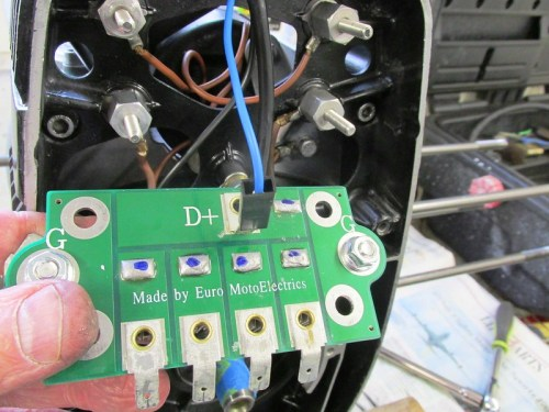 "Voltage Regulator Harness BLUE Wire Goes On Back of Diode Board On ""D+"" Terminal"