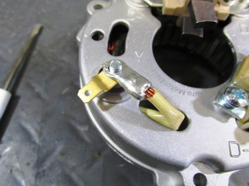 """Y"" Wire Ring Terminal Attaches To Stator Cover Bolt"
