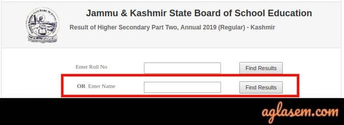 JKBOSE 12th Result 2019 For Annual Regular Kashmir Division Name Wise