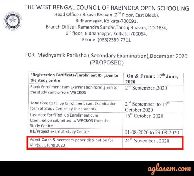 Rabindra Open Schooling Admit Card 2020
