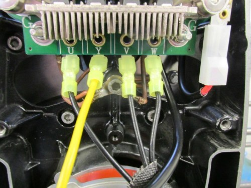 "Stator ""Y"" & 3 Phase Wires (U, V, W) Installed on Diode Board"
