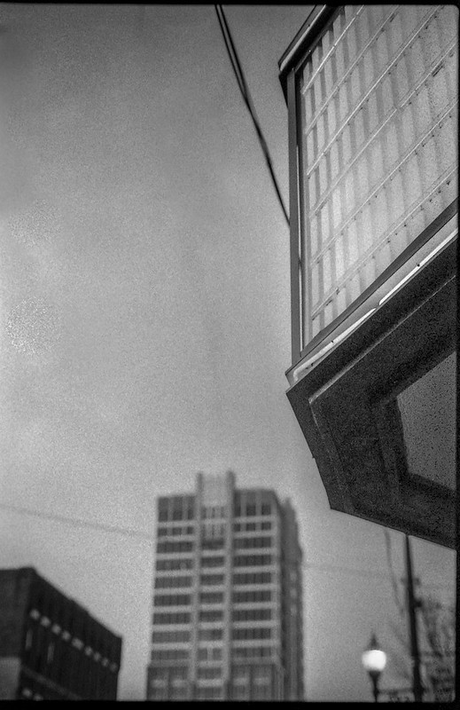 looking up, marquee, Fine Arts Theater, dusk, downtown, Asheville, NC, Pentax Spotomatic, Super Takumar 50mm f-1.4, FPP Derev Pan 400, HC-110 developer, 1.17.20 (1 of 1)