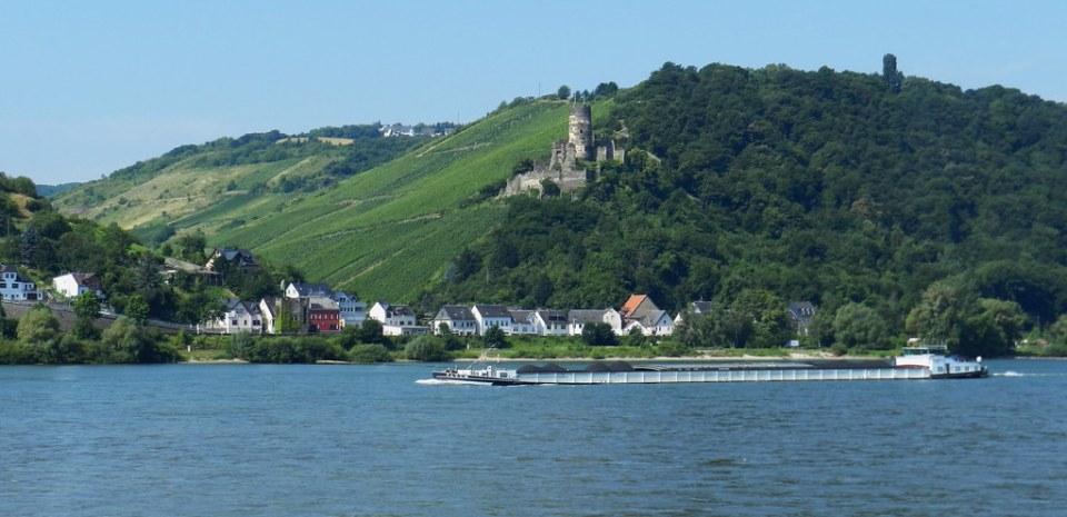 vista de Rheindiebach Castillo Fürstenberg burg Valle del Rin Alemania 01