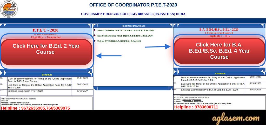 Rajasthan PTET 2021 Application Form