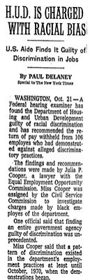EEO finds 'pattern or practice of discrimination' at HUD: 1971