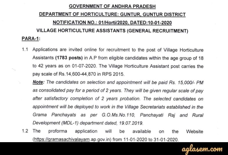 AP Grama Sachivalayam Village Horticulture Assistant Recruitment 2020 Notification