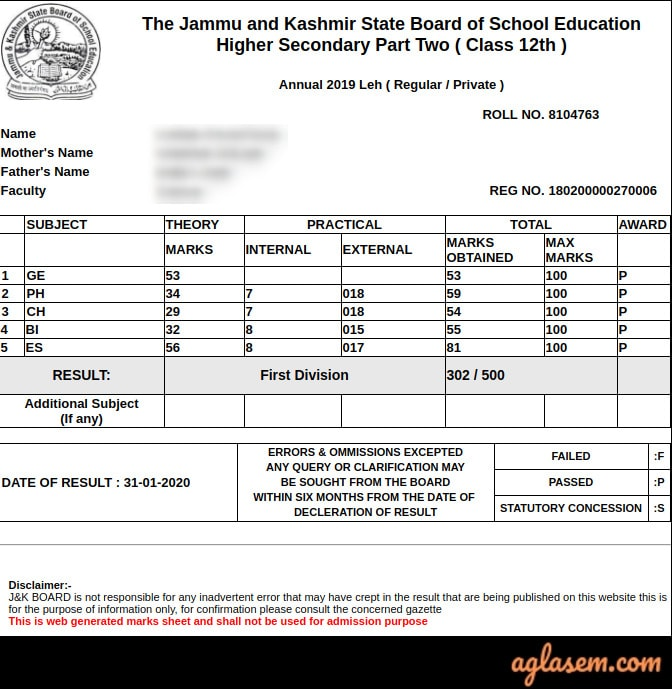 JKBOSE 12th Annual Result 2019 For Leh Division