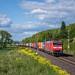 Ein bunter Containerzug kurz vor Göttingen