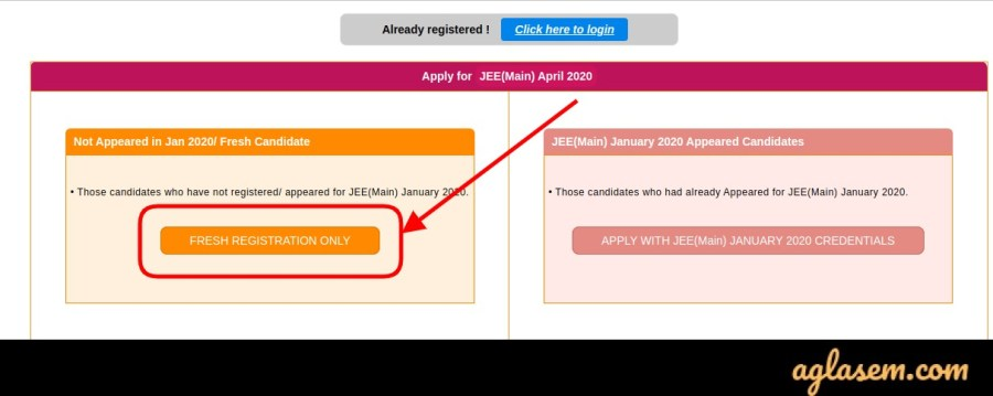 JEE Main 2020 April Registration