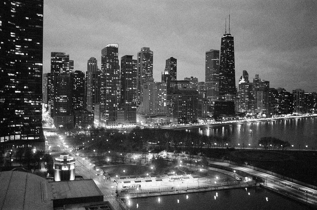 Chicago as night falls