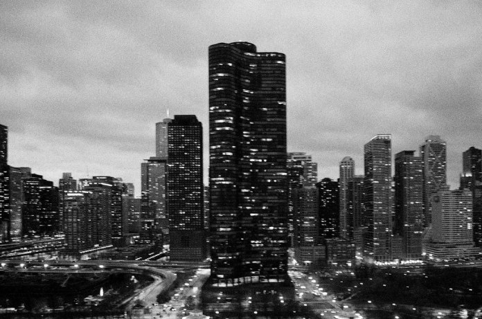 Chicago as night falls