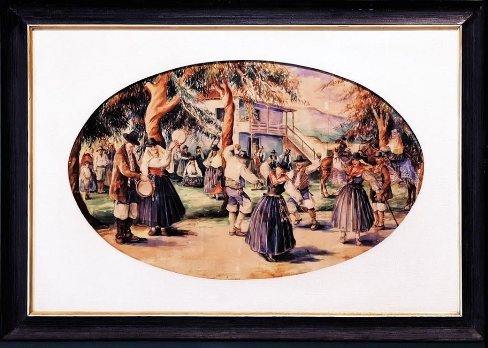 Lía Tavío Baile canario 1900-1920 pintura exposicion Escuela Lujan Perez Las Palmas de Gran Canaria