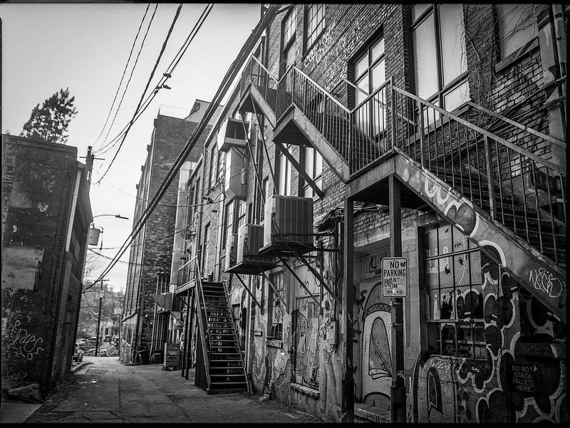 back alley, fire escape, downtown, Asheville, NC, Mamiya 645 Pro, mamiya sekor 45mm f-2.8, Kodak Tri-X 400, HC-110 developer, 2.3.20