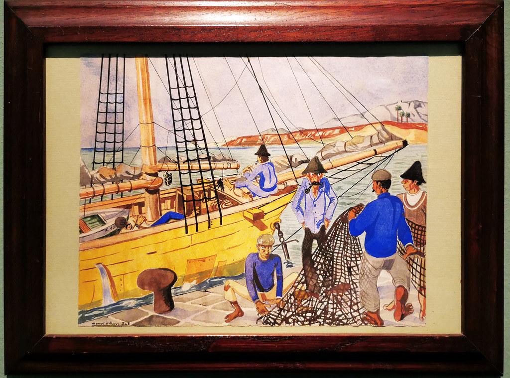 Manolo Millares Pescadores 1945-1950 pintura exposicion Escuela Lujan Perez Las Palmas de Gran Canaria