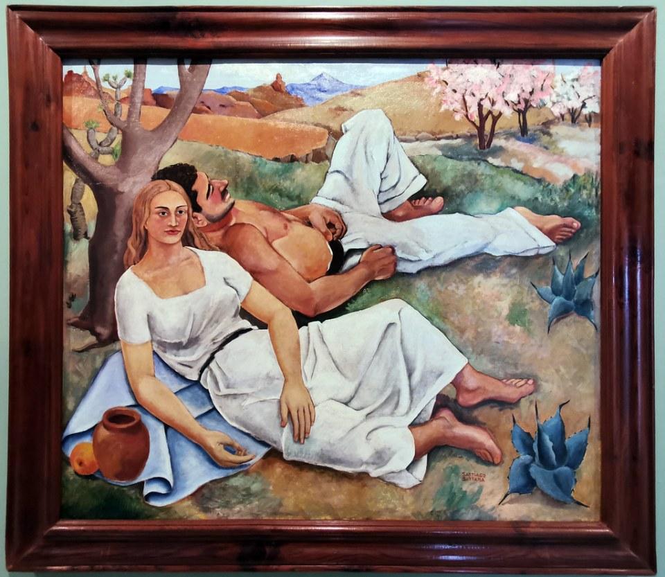 Santiago Santana La siesta 1934 pintura exposicion Escuela Lujan Perez Las Palmas de Gran Canaria