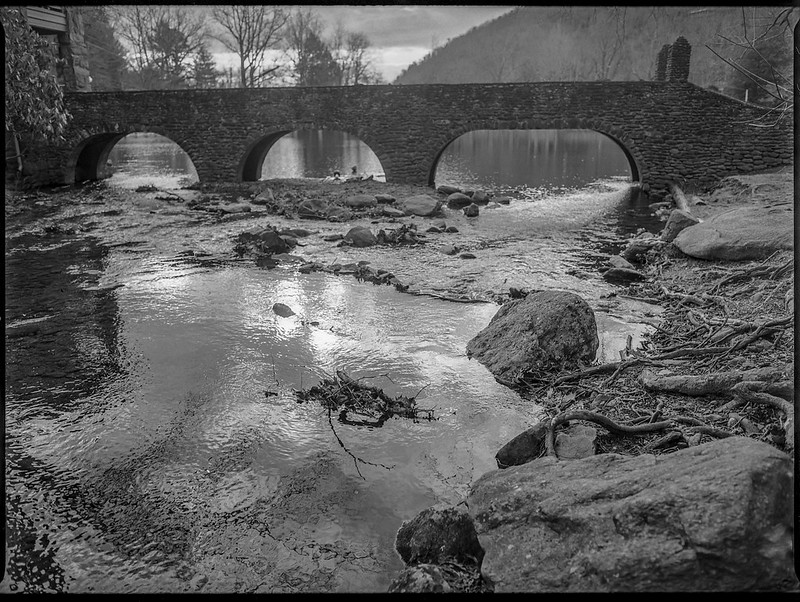 mountain lake and stream, fieldstone bridge, backlit, Montreat, NC, Mamiya 645 Pro, mamiya sekor 45mm f-2.8, 2.3.20