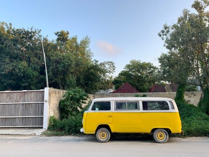Yellow Volkswagen Camper Bus