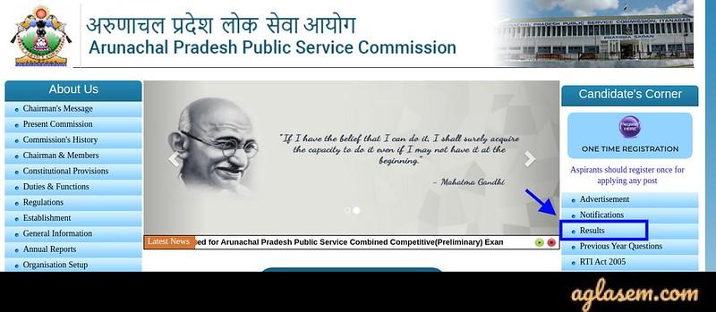 APPSC Arunachal Pradesh Civil Service Result