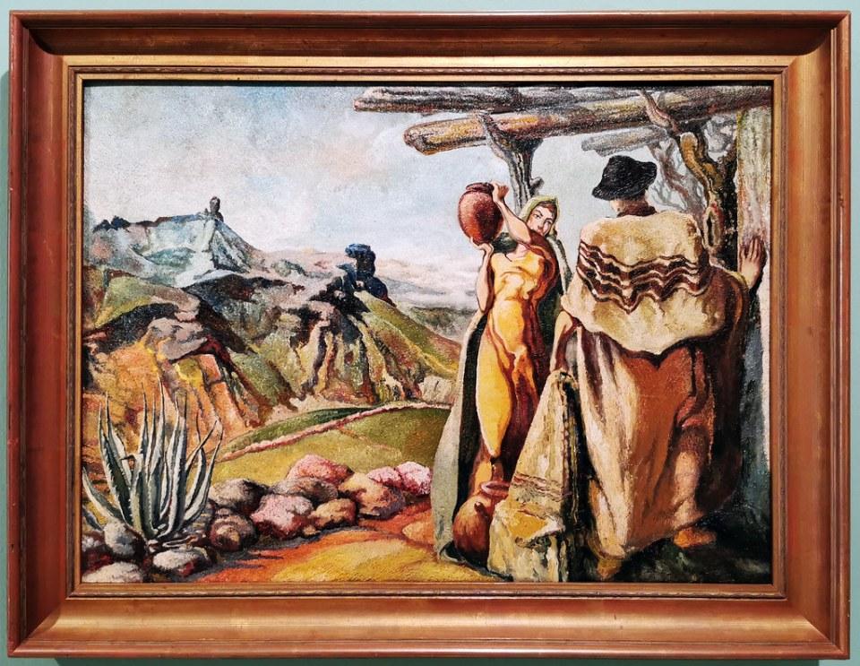 Sergio Calvo Escena Canaria 1940 pintura exposicion Escuela Lujan Perez Las Palmas de Gran Canaria