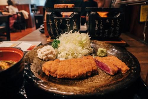Beef katsu at Gyukatsu Motomura in Namba, Osaka, Japan