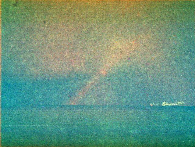 rainbow over Stohl's cliff coast