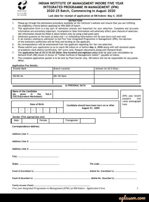 IPMAT form for international applicants