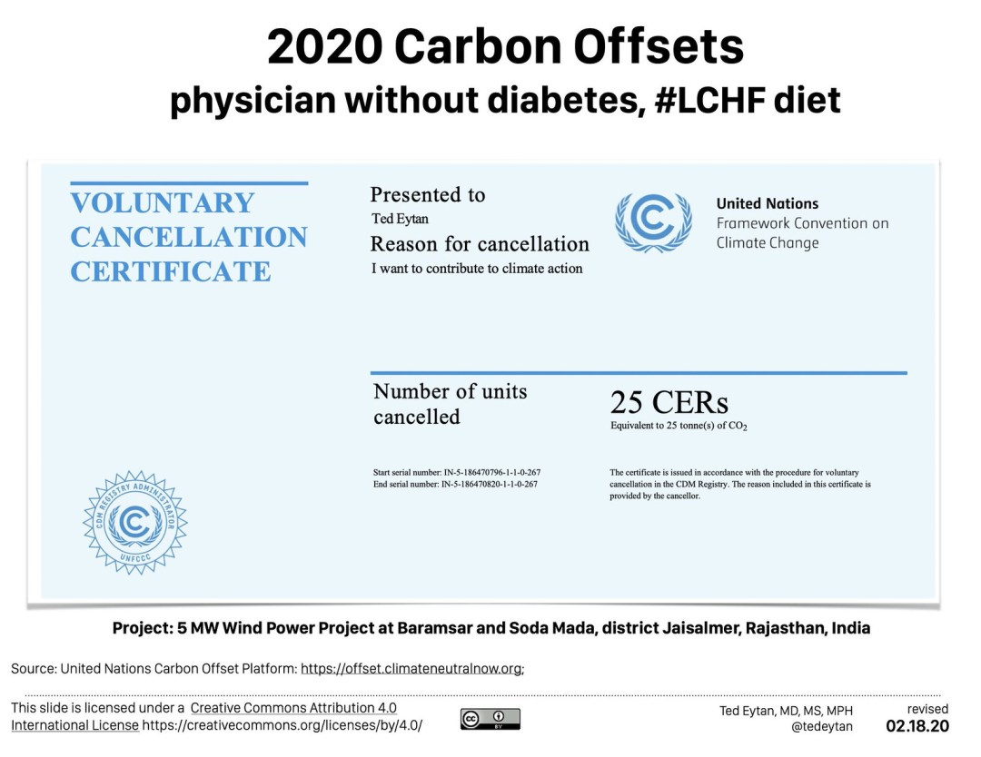Purchasing Carbon Offsets as a physician without diabetes and with a low-carbohydrate diet – How, What, Why – Updated for 2020