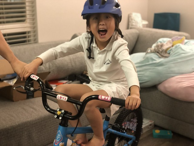 Lila's first bicycle!