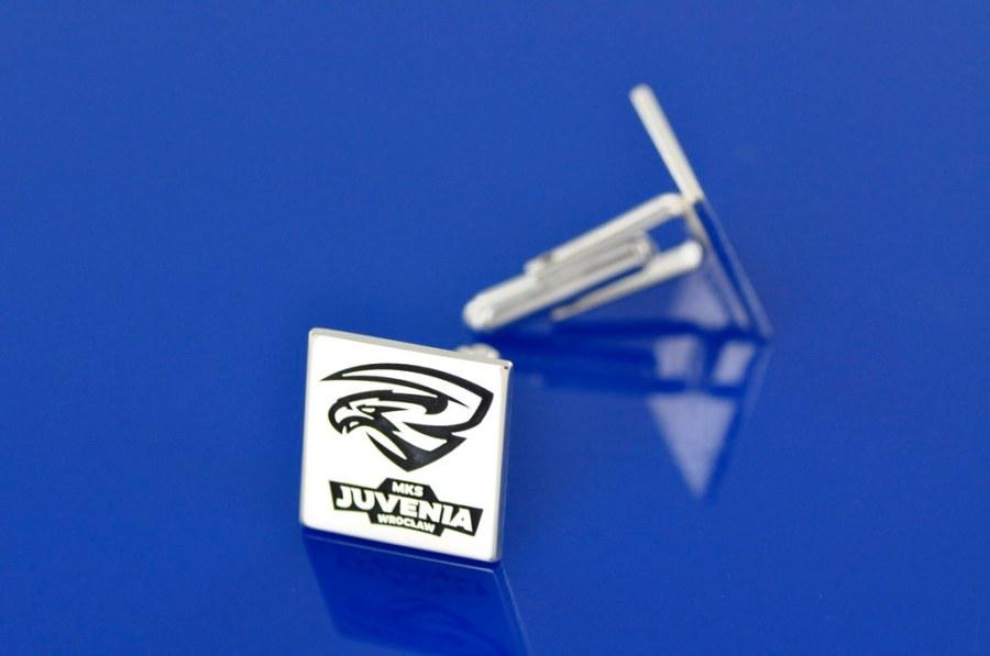 spinki srebrne z logo klubu na zamówienie