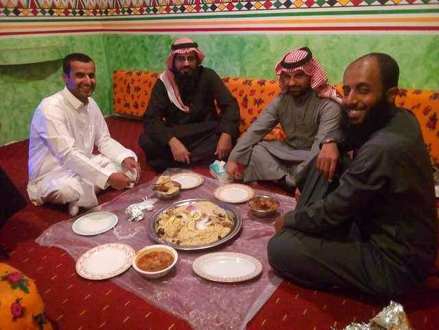 Bin Hansam Village (restaurant and cultural center); Abdullah (on the right) with Budor, Lavi, and Faisal (left) by bryandkeith on flickr
