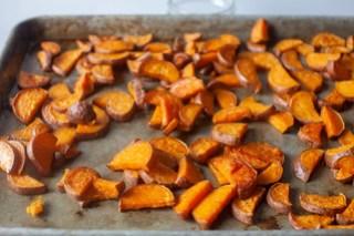 leafy roasted sweet potato
