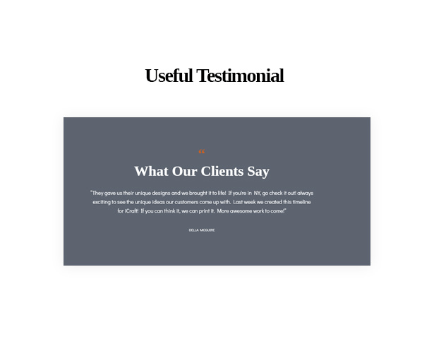 Useful Testimonial