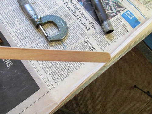 Popsicle Stick For Setting Push Rod Tube Depth
