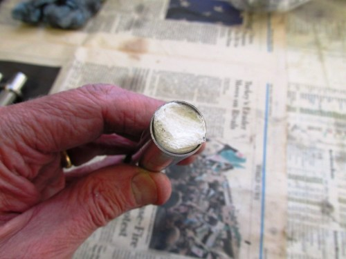 Rolled Paper Towel Inserted Inside Push Rod Tube To Freeze Water Inside