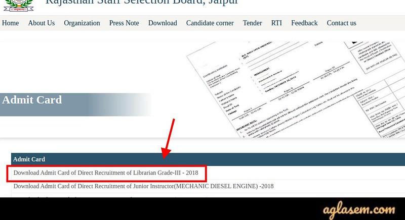 RSMSSB Librarian Admit Card 2020