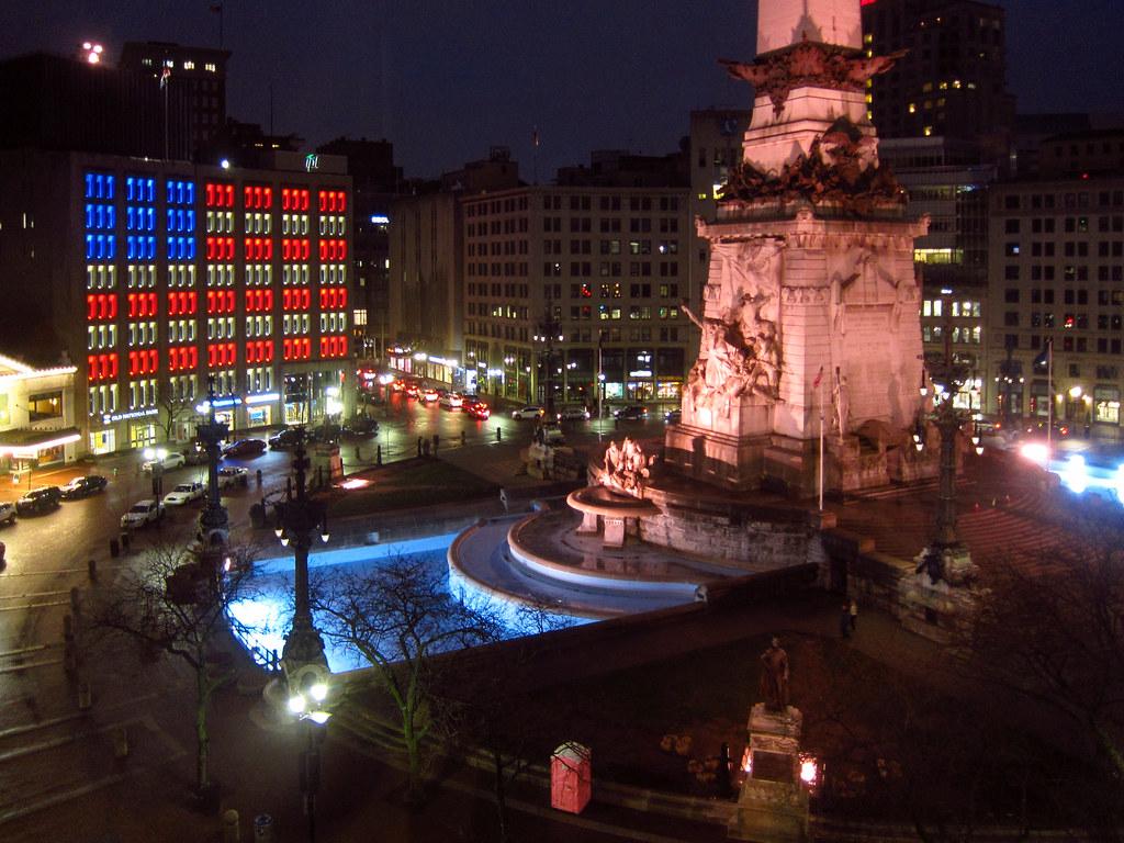 Monument Circle at night