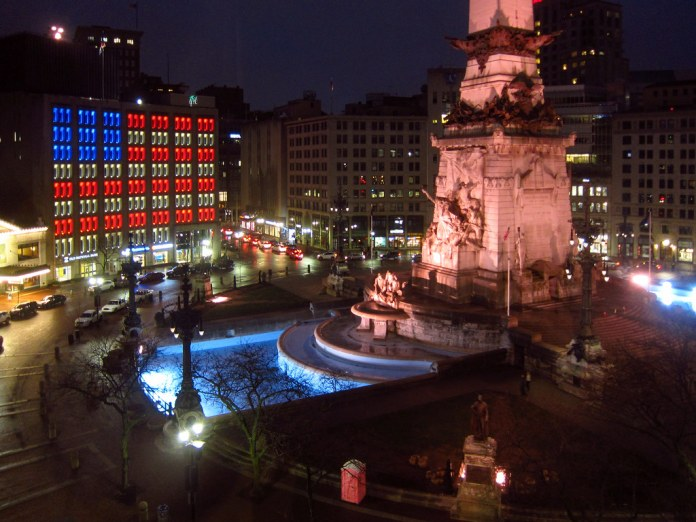 Monument Circle at night
