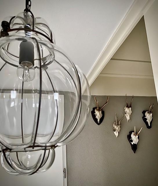 Glazen plafondlamp landelijke hal