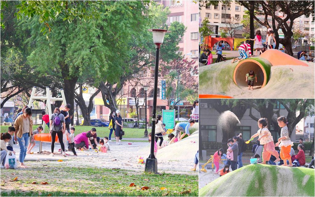 英才公園/台中兒童沙坑遊樂場:假日大爆滿 恐龍磨石子溜滑梯/巨大沙坑+共融式鞦韆好好玩!