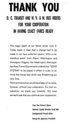 Transit union thanks riders for accepting exact fare: 1968