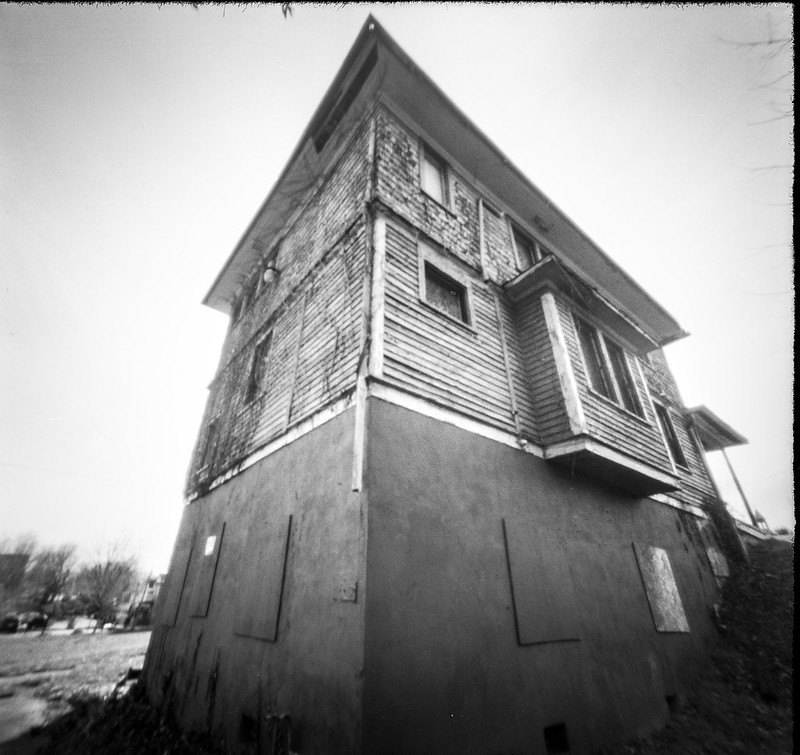 looking up, old abandoned homestead, urban decay, Asheville, NC, 6x6 pinhole camera, Ilford FP4+, Moersch Eco film developer, 3.5.20