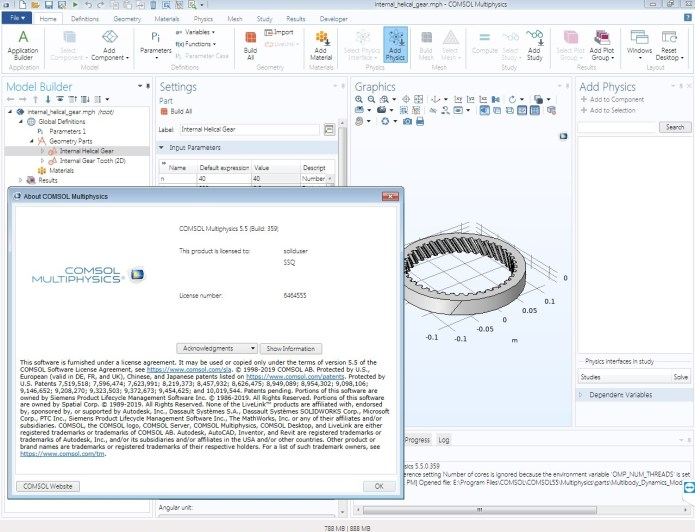 working with Comsol Multiphysics 5.5.0.359 x64 full license 100% working