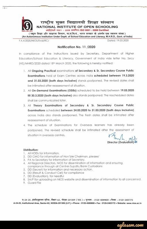 NIOS 10th and 12th April Exam 2020 Postponed Notice