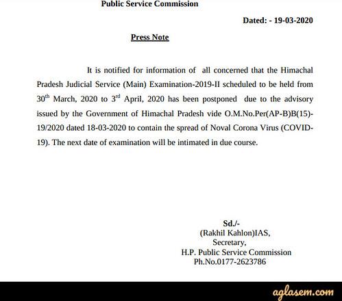 Himachal Pradesh Judicial Services 2020(Mains Exam Postponed), Preliminary Result,