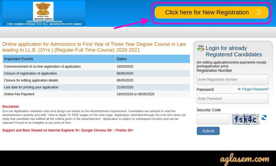 MH CET Law 2021 Registration