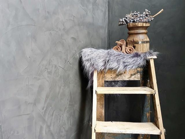 Houten ladder vachtje houten poer